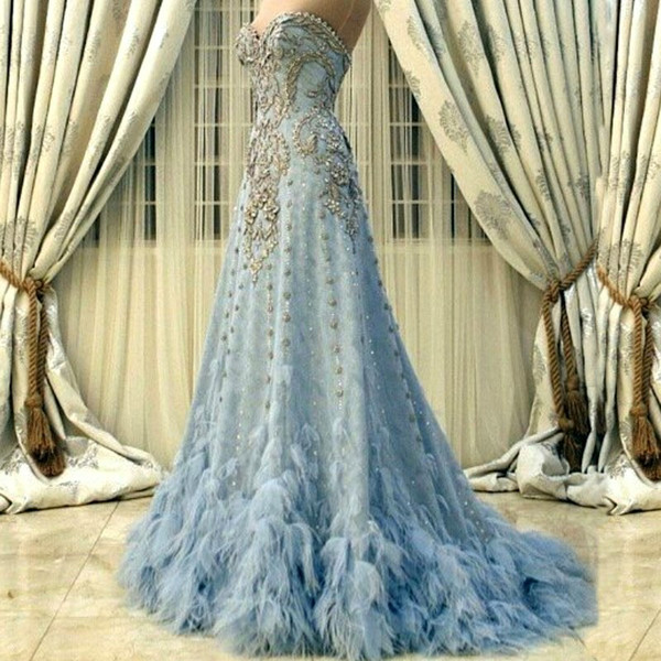 Glamorous Sparkle Blue Evening Dress Luxury Beaded Sweetheart Sexy Backless Red Carpet Dress 2017 Charming Feathered Long Tail Evening Gowns