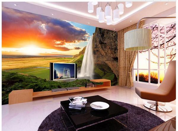 Großhandel 3D Fototapete Benutzerdefinierte Wandbilder Tapete Wandbild  Schöne Sonnenuntergang Berg Wasserfälle Wohnzimmer TV Wand Wohnzimmer ...