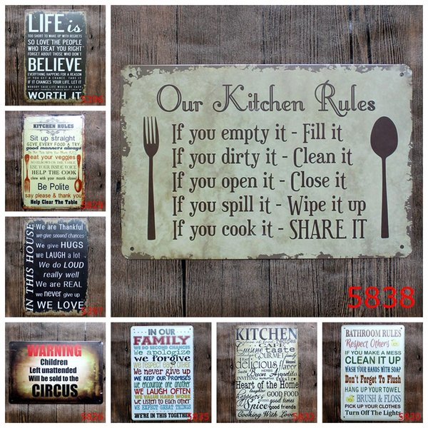 new 20*30cm Our kitchen Family bathroom rules poster Tin Sign Coffee Shop Bar Restaurant Wall Art decoration Bar Metal Paintings Tin Sign