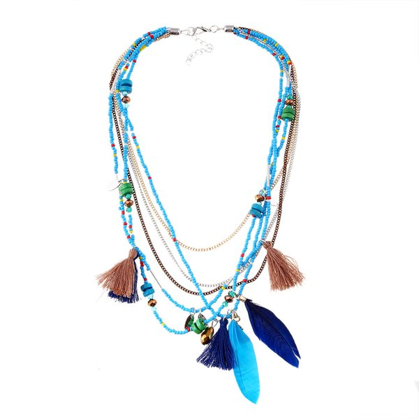 Bohemia Style Necklaces Women Pompom Tassel Feather Pendant Necklace 4 Colors Beaded Necklace For Lady Multi Rows Wood Necklaces