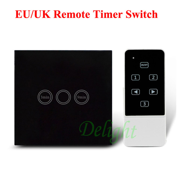 Wholesale-UK EU Standard Wireless Remote Control Timer Switch Black Crystal Glass RF Remote Control Touch Time Delay Switch