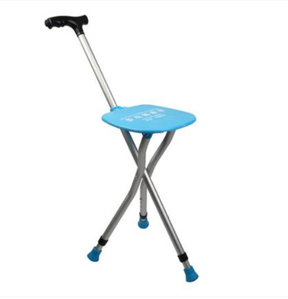 Wholesale- Old man stool walking stick Tripod folded walking stick old man special equipment massage Big sitting board/241028