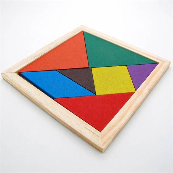 top popular Wooden Tangram 7 Piece Jigsaw Puzzle Colorful Square IQ Game Brain Teaser Intelligent Educational Toys for Kids 2019