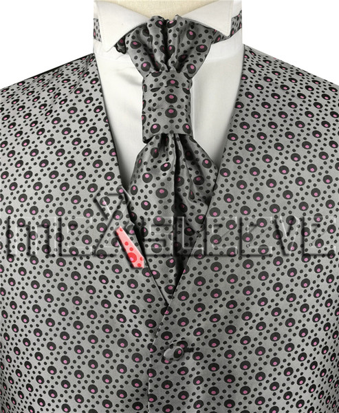 4pcs de gilet en polyester à pois de mode pour hommes de la mariée / smoking