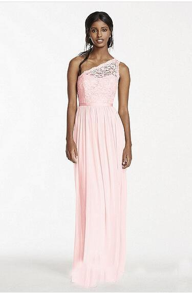 2019 African One Shoulder Chiffon Long Bridesmaid Dresses Pink Hot Lace Top Junoir Maid of the Honor Party Gowns Cheaper