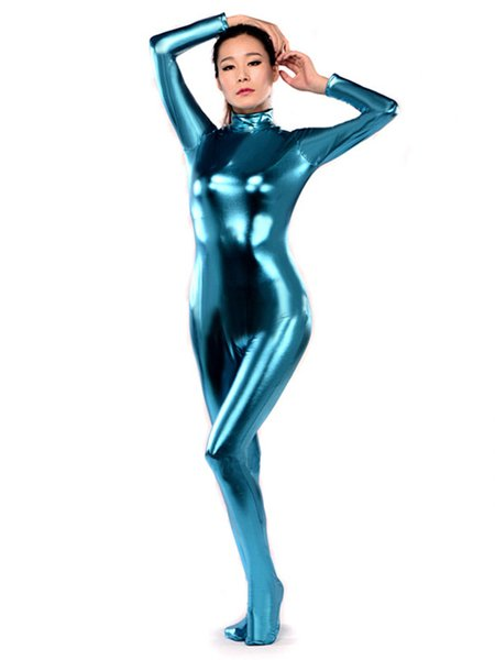 Hot Sale Sexy Lake Blue Shiny Metallic Lycra Body Zentai Catsuit Halloween Cosplay Party Suit