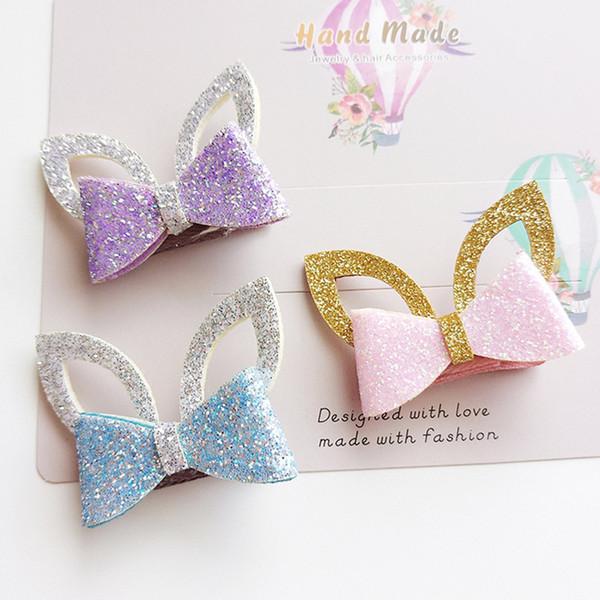 24pc/lot Glitter Felt Gold Leather Baby Girls Hair Clip Silver Rabbit Ears Hair Barrette Cute Animal Princess Hair Ties Hairband