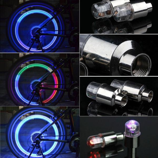 Yanıp sönen LED Vana Caps Bisiklet Bisiklet Motosiklet DRL Araba LED Tekerlek Işık Fener Lastik Vana Lambası