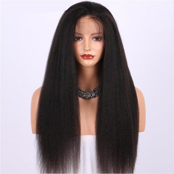 Celebrity Wigs Full Lace Wig Fashion Indian Hair Wig Kinky Straight Human Hair 26 inch Front Lace Wig with Natural Hairline Free Shipping