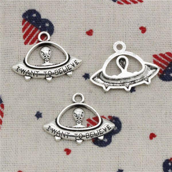 Wholesalecs- 104pcs Charms alien ET believe spaceship 23*30mm Pendant,Vintage Tibetan Silver,For DIY Necklace&Bracelets Jewelry Accessories