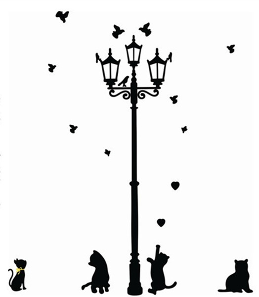 Adhesive Home Decoration 3 Little Cat under Street Lamp DIY animal Wall Sticker Wallpaper Mural Room Decal