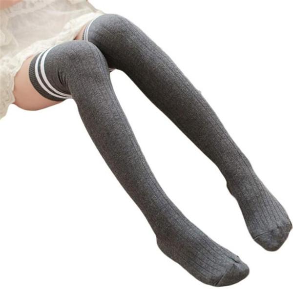 Wholesale- Feitong Women Striped Winter Over Knee Socks For Women Girls Leg Warme Soft Knitting Crochet Socks Female Thigh High socks 2017