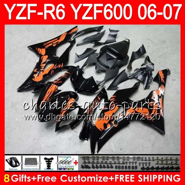 8Gifts 23Color Bodywork For YAMAHA YZF600 YZFR6 06 07 YZF-R600 59HM8 YZF R 6 06-07 YZF 600 YZF-R6 YZF R6 2006 2007 Fairing Graffiti orange