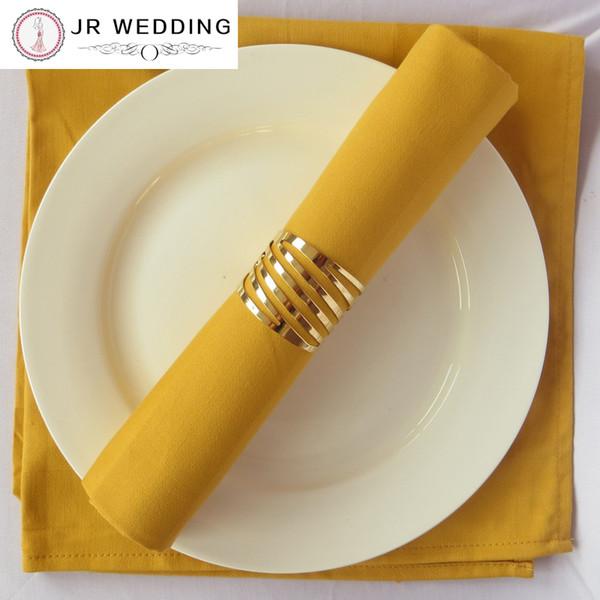 Großhandel-100pcs Großhandel Hohl Serviettenring Gold Serviettenringe Für Hochzeiten Dekorative Serviettenhalter