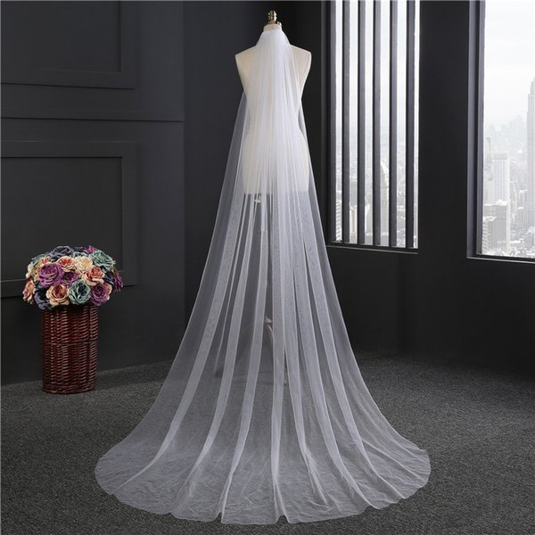 Free shipping very cheap single layer Long tail wedding bridal church ceremony with comb chapel length white one layer nice veil cover
