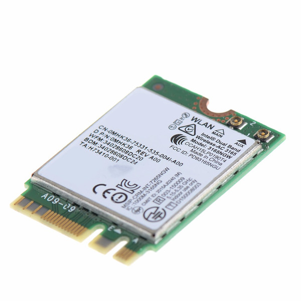 Wholesale- Network Cards Fit For Intel Dual Band Wireless AC 3165 3165NGW 433Mbps BT 4.0 WIFI Card VHF67 T51