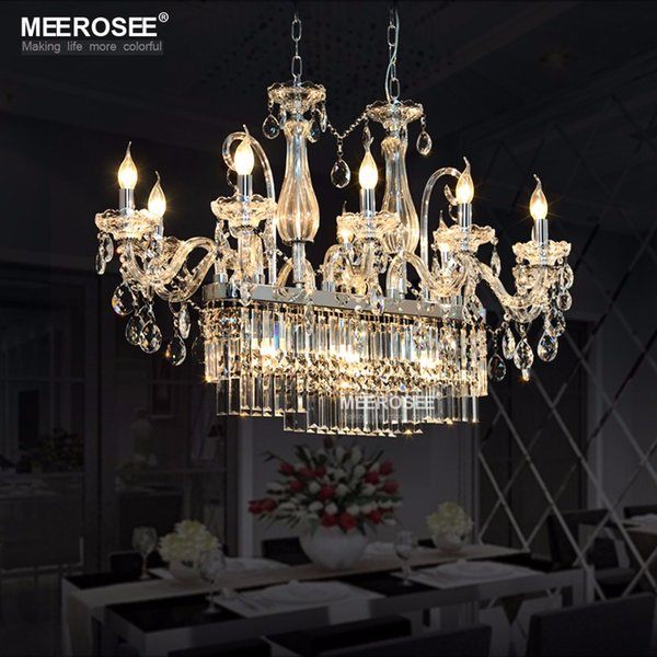 Herrliche Rechteck Kristall Kronleuchter Leuchte 13 Lichter Glas  Kronleuchter Beleuchtung Glanz Hängende Esszimmer Drop Indoor Lampe
