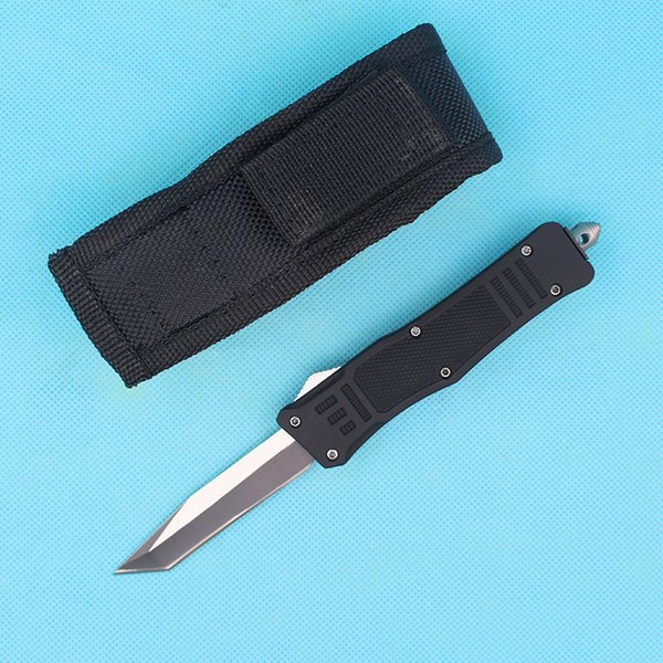 Custom Knives - 7 Inch Small 616 Auto Tactical Knife 440C Single Tanto Fine Edge Blade With Nylon Bag