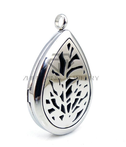 Chains as gifts Oil Drop Silver Leaf (30mm) E Aromatherapy / Essential Oils Diffuser Locket Necklace Stainless Steel Diffuser Locket