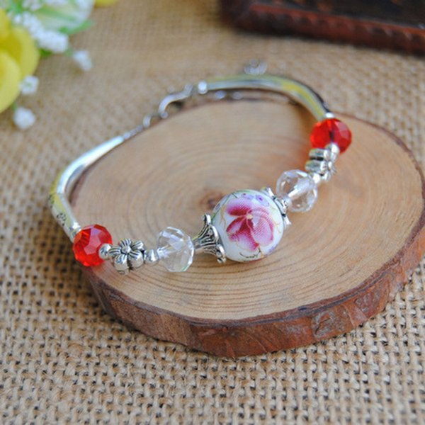 2017 Original vintage flower Ceramics beads GirlS Bracelet Good Lucky Bracelet cute Lover Bracelet Lovers Lucky Jewelry Women christmas Gift