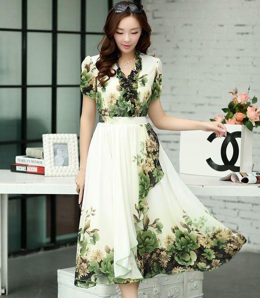 Ladies Dresses Fashion Party dress Flounced deep V neckline Summer Fresh green Pleated Dresses Elegant shoulders flowers Women Long Dresses