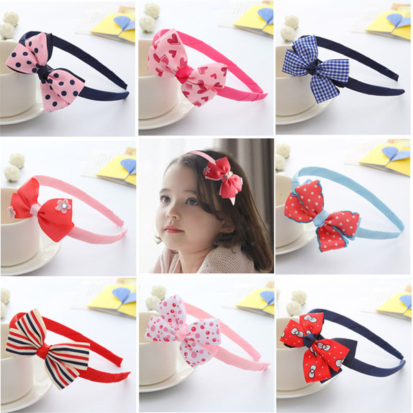 best selling Free DHL Express 4 inch Infants Hair Hoop Ribbon Bow Hair Sticks for Girls 2017 Fashion Kids Baby Double Bows Headwear Hairs Accessories