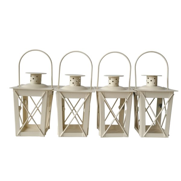 Cheap ccandlestick lassical Metal candle holder Small Iron lantern White Color wedding candle holder free shipping