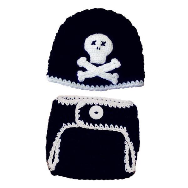 Newborn Knit Pirate Skull Costume,Handmade Crochet Baby Boy Girl Skull Beanie Hat and Diaper Cover Set,Infant Halloween Costume Photo Props