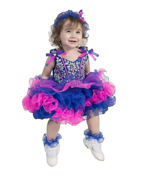 2017 New Baby Girls Glitz National Pageant Cupcake Gowns Infant Mini Short Skirts Toddler Girls Ruffles Pageant Dresses