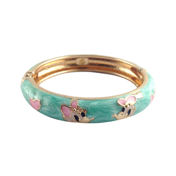 Cute cartoon gold plated Cuff Bangle Women Kids Charm Bracelet Jewelry for baby Children Gift K021D