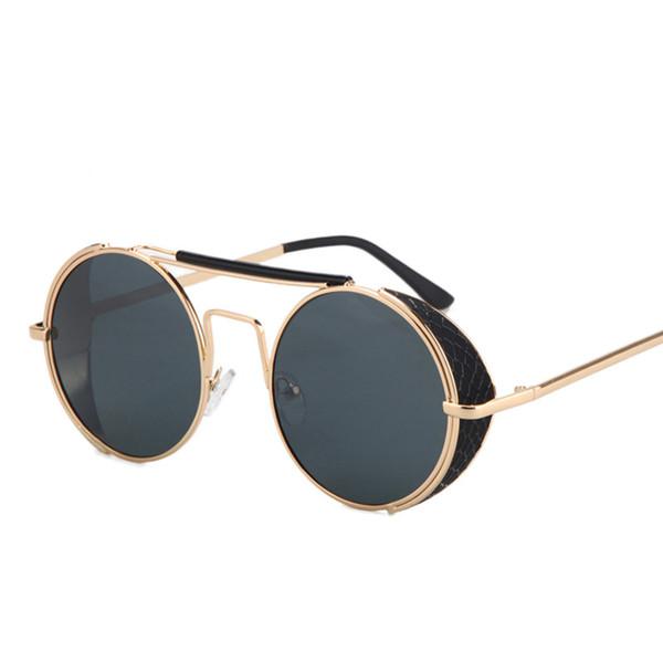 Al por mayor-Peekaboo 2016 de calidad superior gafas de sol de la vendimia de los hombres de las mujeres de edad de metal plano superior redondo steampunk gafas de sol gafas de sol a prueba de viento