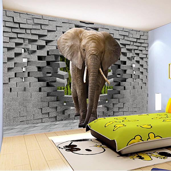 3D Wall Painting custom 3d photo wallpaper lifelike elephant wall breaching art