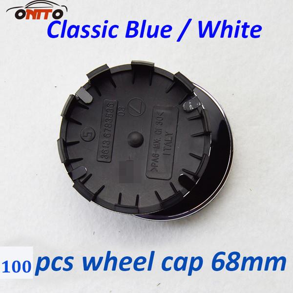 Recomend 10 clips 100pcs for blak white/blue white / logo Car Wheel Center Hub Cap 68MM Auto Logo Emblem Wheel Badge Cover red/blue Cover