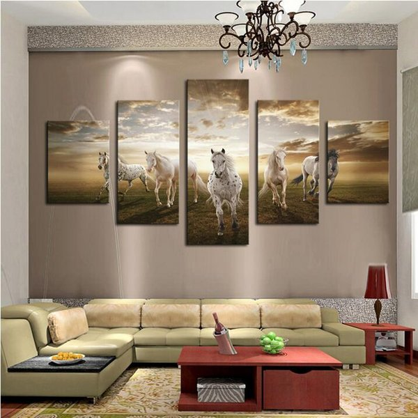 Unframed 5 pcs Art Pictures Running Horse Large HD Modern Home Wall Decor Abstract Canvas Print Oil Painting