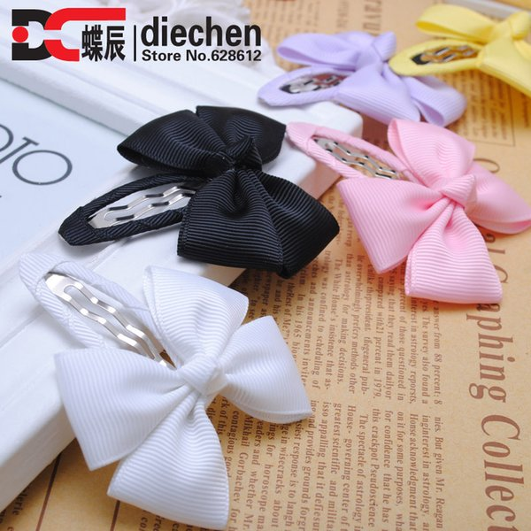 Wholesale- 2pcs/lot solid grosgrain bows toddler baby girls hair snap clips hairpins children accessories assorted colors free shipping