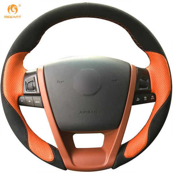MEWANT Black Suede Orange Leather Hand Sewn Car Steering Wheel Cover for MG6 MG 6