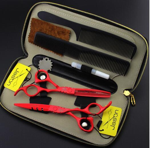 top sale jason 5.5 6 inch red paint Hairdressing scissors sets Flat shear Teeth scissors thinning cutting scissors Hair Care Styling Tools