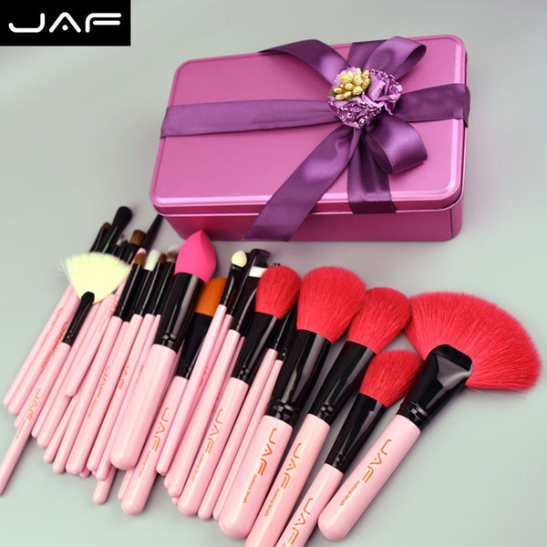 Jaf 32 Pcs Pennello per trucco rosa Set di pennelli per trucco naturale capra rossa in confezione regalo Il suo regalo di compleanno migliore J32gr -P