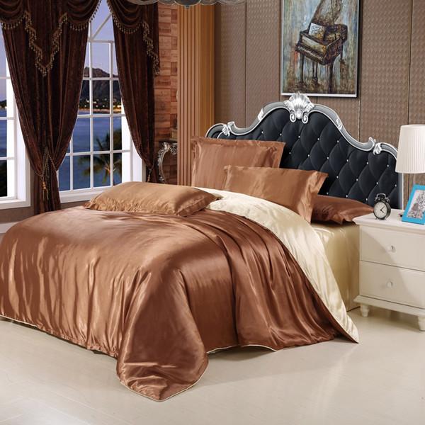 Wholesale- Imitation silk satin luxury bedding set silver satin set full king size bed sheet set summer bedclothes duvet cover pillowcases.