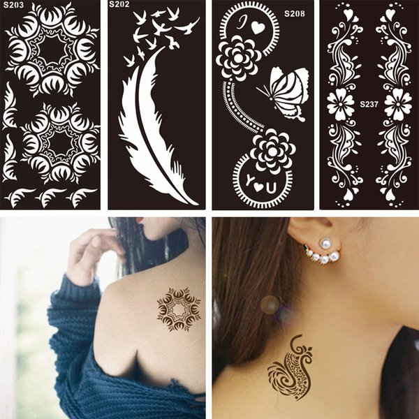 Wholesale- 1 PC Disposable Black Fake Henna Indian Arabic Stencil Temporary Tattoo Lace Wedding Women Body Art Paint Tattoo Sticker Designs