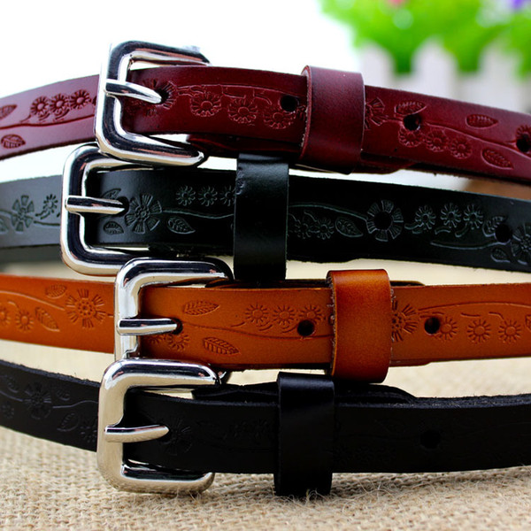 Taobao ladies leather belt explosion stamp wholesale fashion dress four all-match fine belt female models
