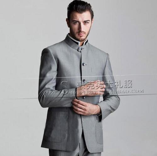 Grey stand collar new arrival slim men chinese tunic suit set pants mens suits wedding groom dress suit + pant plus size 4XL