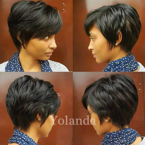 2017 Cheap human hair wigs full lace front wigs for black women lace pixie short cut 100 human Brazilian hair wigs