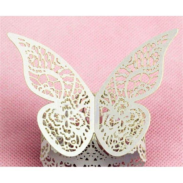 Wholesale- 5pcs/lot White Paper Butterfly Napkin Rings Serviette Holder Wedding Banquet Dinner Table Decorative Napkin Holders QB882288