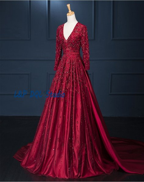 Gorgeous Prom Dresses Wine Red Evening Dear V-Neck Long Sleeve tulle Satin with Embroidery Court Train Evening Gowns with Beads Sequins