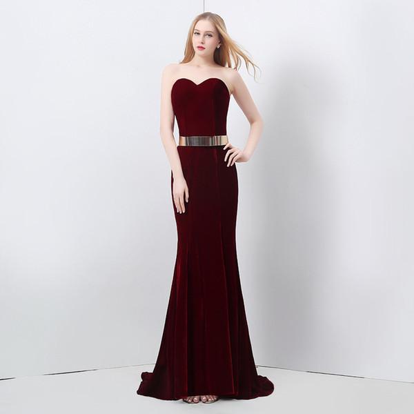 Vinho de luxo elegante cor vermelha sem alças de veludo vestido de noite sereia vestido de festa Cocktail Prom Dressing