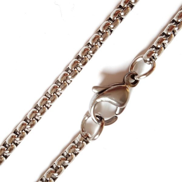 Stainless Steel cable link chain, original color, 2.4mm, Sold by 12 strands/card