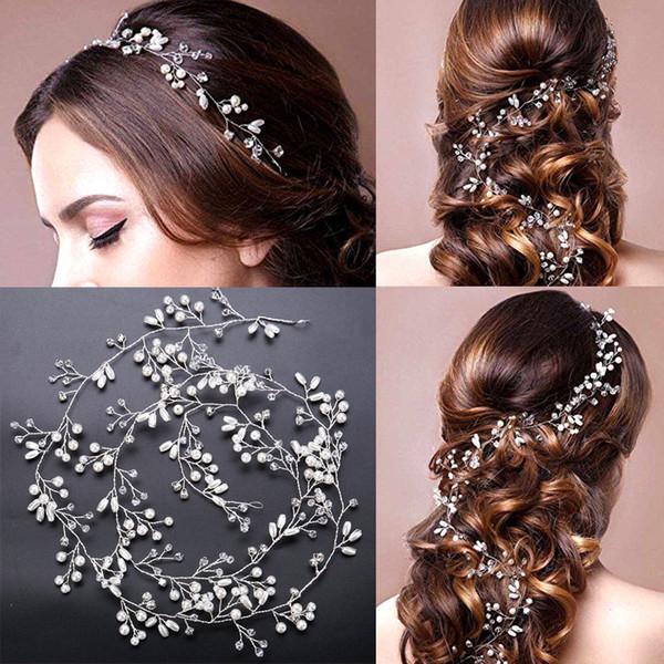 Boda nupcial dama de honor de plata hecha a mano Rhinestone perla Hairband diadema lujo accesorios para el cabello tocado Fascinators Tiara oro