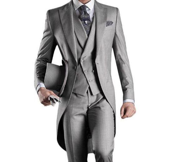 Italian men tailcoat gray wedding suits for men groomsmen suits 3 pieces groom wedding suits peaked lapel men suit jacket+pants+vest+tie
