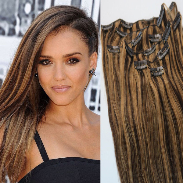 Clip In Brazilian Human Hair Extensions Piano #3/27 Straight Remy Hair Clip Ins Highlight 7pcs 100g 14-24 inch